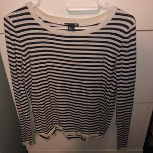 Light navy and cream striped sweater